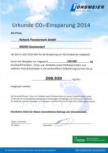 Urkunde CO2 Einsparung 2014