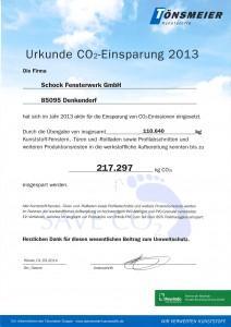 Urkunde Co2 Einsparung 2013