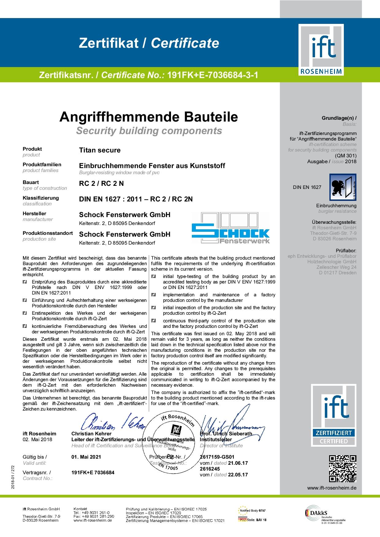 IFT-Zertikfikat Einbruch hemmnend